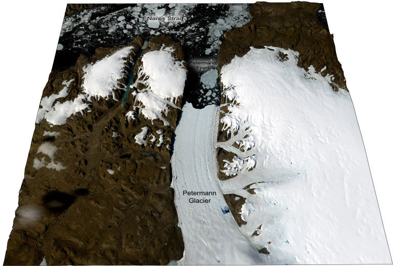 Petermann Glacier and Fjord, view looking approximately NW. Landsat 8 OLI imagery (NASA) projected on the GIMP 30 m resolution digital elevation model [4]. 5x vertical exaggeration.  From the Petermann Glacial History Blog.